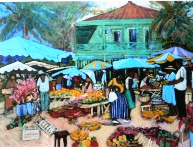Art Lover Place L Oeuvre Marche De Fort De France Martinique Peinture Par Patrice Poindrelle