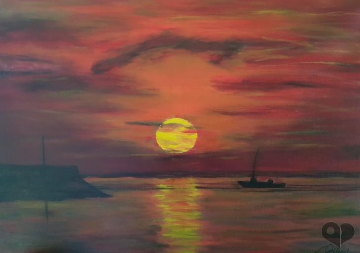 Art Lover Place L Oeuvre Coucher De Soleil Sur La Mer Peinture